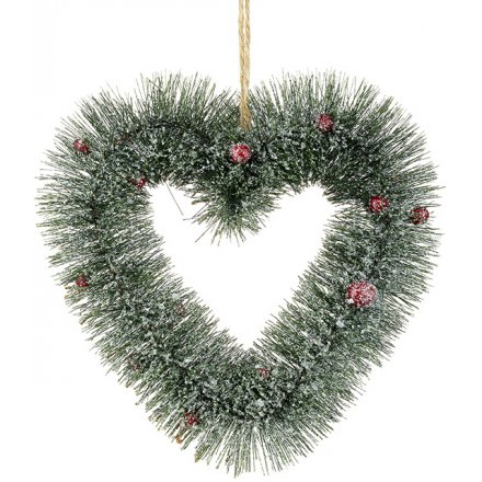 Heart Pine Wreath With Berries 20cm