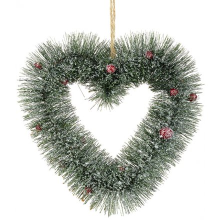 Large Frosted Berry Heart Wreath 25cm