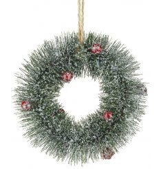 Bring a wintered festive feel to any home decor or display with this traditional inspired hanging wreath decoration