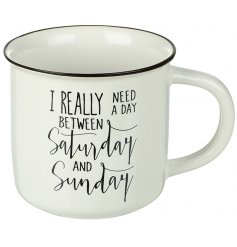 This comical script mug will be sure to improve any morning coffee or tea break!