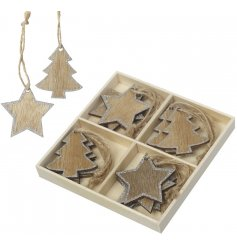 Bring a natural wooden touch to any Christmas tree display with this box of assorted hanging decorations