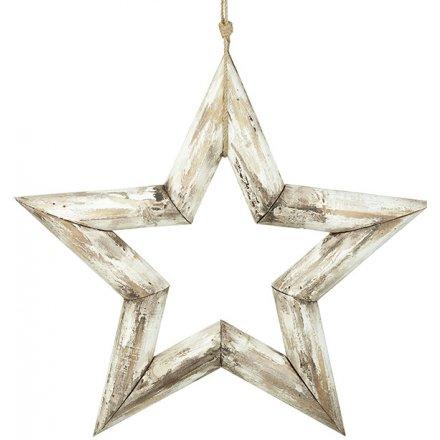 Distressed White Wash Hanging Star 38cm
