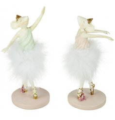 Bring a charming pink touch to your home decor or displays with this sweet assortment of standing resin based ballerinas
