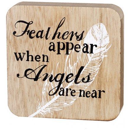 Wooden Angel Plaque 10cm