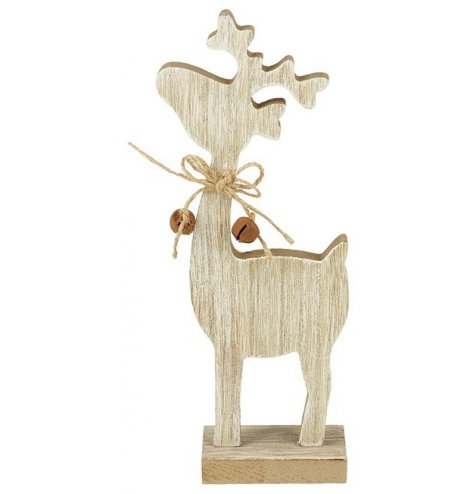 A simple wooden reindeer decoration with a jute string bow and rustic jingle bells.