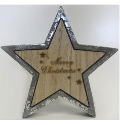 Bring a charming distressed edge to your home decor or display this Christmas season with this concrete and wooden star