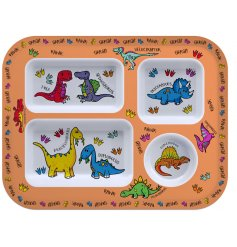 this Dinosaur covered dinner tray will be sure to keep your little ones entertained while they eat