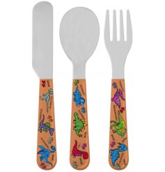this little set of plastic handled cutlery will be sure to entertain your little ones while they eat