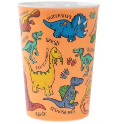 Covered in colourful illustrations of Dinosaurs, this little plastic drinking beaker will be sure to entertainchildren