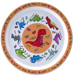 this Dinosaur covered plate will be sure to keep your little ones entertained while they eat
