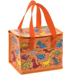 this Dinosaur covered lunch bag will be sure to keep your little ones entertained while they eat