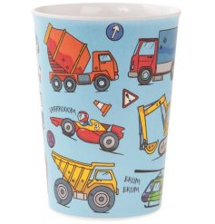 Covered in colourful illustrations of different vehicles, this little plastic beaker will be sure to entertain