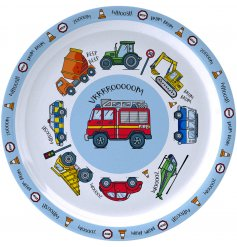 this Transport covered plastic plate will be sure to keep your little ones entertained while they eat