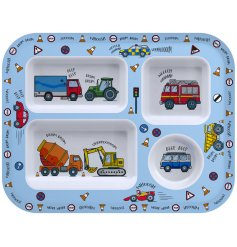 Covered in colourful illustrations of cars and trucks, this little plastic tray will be sure to entertain your little o