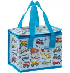this Transport covered lunch bag will be sure to keep your little ones entertained while they eat