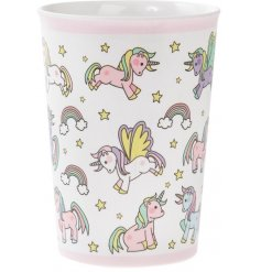 this unicorn covered plastic cup will be sure to keep your little ones entertained while they eat