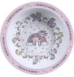 this unicorn covered plastic bowl will be sure to keep your little ones entertained while they eat