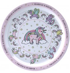 this unicorn covered plastic plate will be sure to keep your little ones entertained while they eat