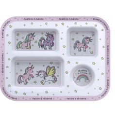 Covered in pretty pink illustrations of different unicorns, this little plastic tray will be sure to entertain