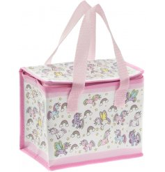 this unicorn covered lunch bag will be sure to keep your little ones entertained while they eat
