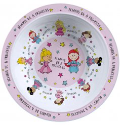 With its pretty pink tone and array of colourfully dressed princesses, this fun plastic bowl is perfect for any girl