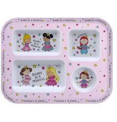 With its pretty pink tone and array of colourfully dressed princesses, this fun dinner tray is perfect for any little o
