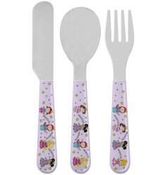 this princess covered set of cutlery will be sure to keep your little ones entertained while they eat