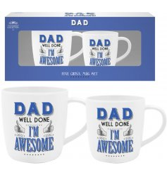 A set of 2 mugs with Dad Well Done I'm Awesome script