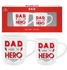 A set of 2 mugs with Dad You're My Hero motto