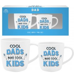 A set of 2 mugs with Cool Dads motto