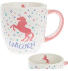 Bring an enchanting unicorn touch to your morning coffee or tea break with this magical pink printed mug