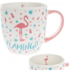 this pink handled ceramic mug will be sure to improve any morning coffee or tea break!
