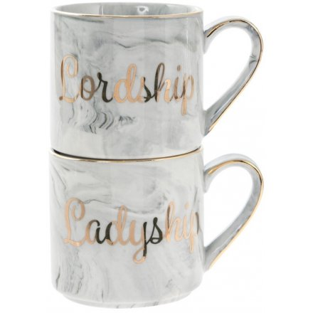 Marble Effect Stacking Mugs - Lord & Ladyship