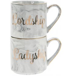 this sleek set of stacking mugs will be sure to make a great gift idea for any loved couple