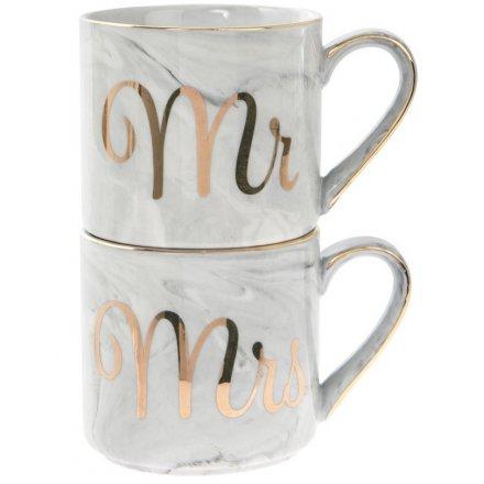 Marble Effect Stacking Mugs - Mr & Mrs