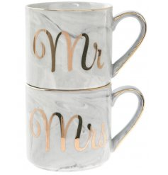 Bring an on-trend touch to any newly weds home interior with this sleek set of stacking mugs