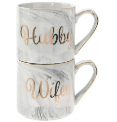 Set with a grey marble effect and a golden script 'Hubby' and 'Wifey' label