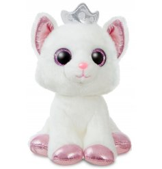 An adorable soft and cuddly kitty plushie, complete with sparkly toes and a decorative crown