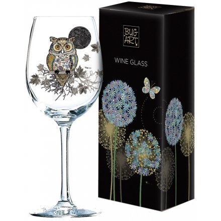 Whimsical Inspired Wine Glass - Owl