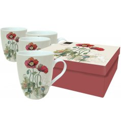 Decorated with its vintage poppy inspired decal and smooth ceramic finish, this set of 4 illustrated mugs are beautiful