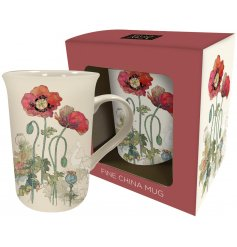 Decorated with its vintage poppy inspired decal and smooth Fine China finish