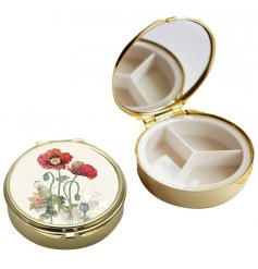 this golden rimmed compact mirror and pill box will be sure to make a wonderful gift idea