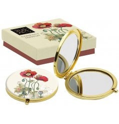 A beautiful golden toned compact mirror, perfectly finished with an illustrated watercolour poppy design
