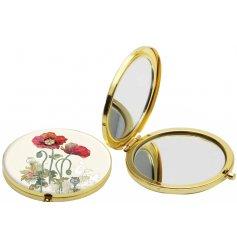 Watercolour Poppy Golden Mirror