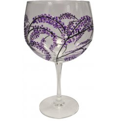 A Sunny By Sue Gin Glass with Japanese Garden Purple & Black design