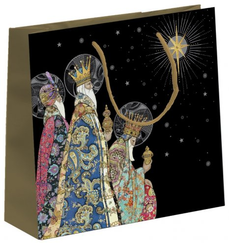 A fine quality gift bag with a colourful collage image depicting the three kings under a star lit night sky.