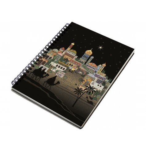A fine quality lined notebook with a colourful collage image depicting Bethlehem City under the night sky.