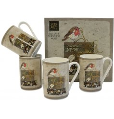Bring a sweetly vintage edge to any hot chocolate evening or cozy night in with this beautifully decorated set of mugs
