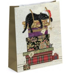 A pretty floral themed gift bag set with an added black cat decal