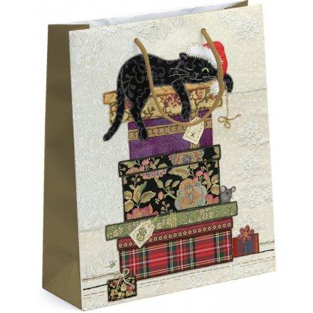 Festive Floral Cat Giftbag - Large